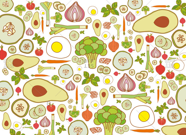 Illustration of healthy vegetables and eggs in a pattern