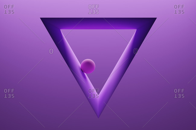 Three dimensional render of small sphere inside triangle shaped frame