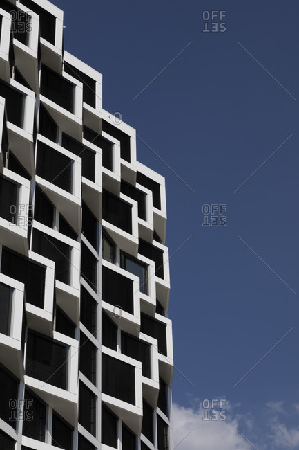 Germany- Bavaria- Munich- Low angle view of modern residential building