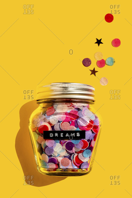 Jars of colorful confetti in the studio