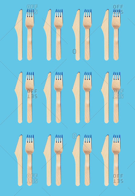 Wooden cutlery- fork and knife for take away food- organic and ecological zero waste- pattern
