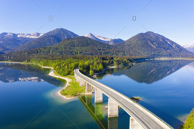 Germany- Bavaria- Lenggries- Sylvenstein Reservoir and Faller-Klamm-Brucke in spring