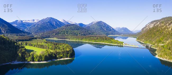 Germany- Bavaria- Lenggries-  Sylvenstein Reservoir in spring with Faller-Klamm-Brucke in background