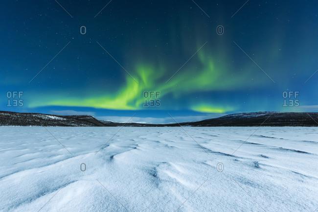 Northern lights above Ropijarvi- Ropinsalmi- Enontekioe- Finland