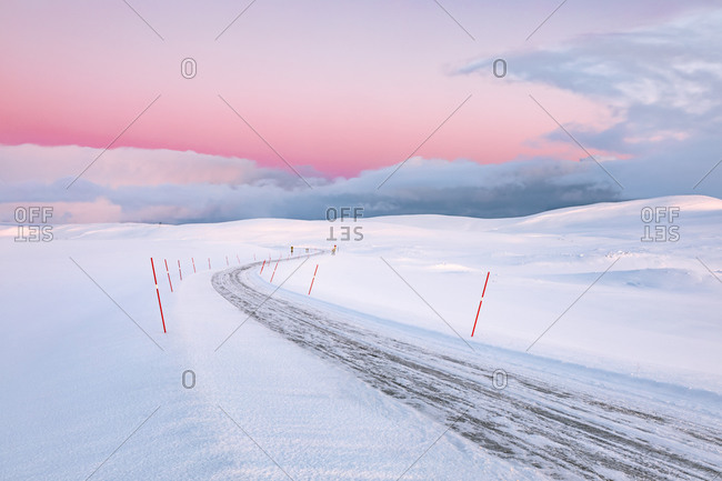 Moody winter landscape with road- Tana- Norway