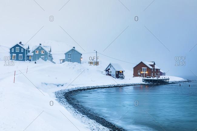 January 17,  2020: Fishing settlement in winter- Kongsfjord- Berlevag- Norway