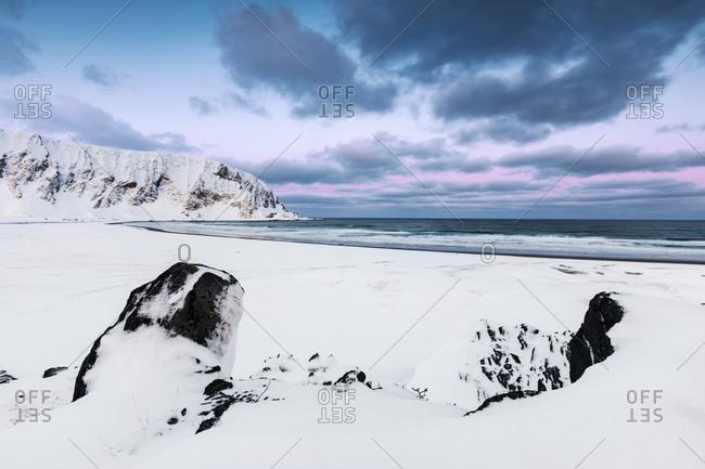 Coastal landscape in winter- Berlevag- Norway