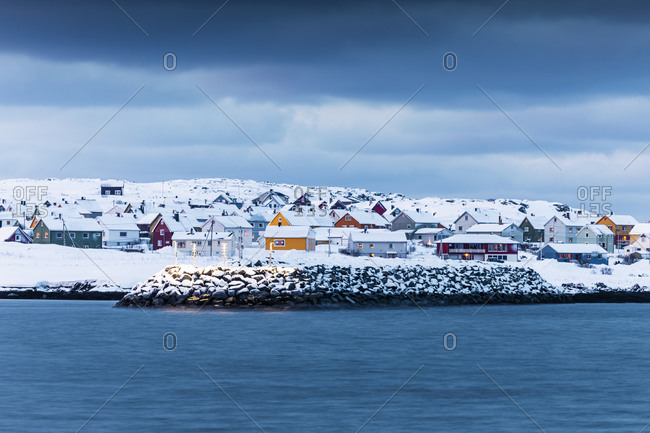 Townscape of Berlevag in winter- Norway