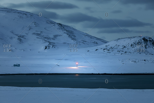 Street light at the coast at twilight- Berlevag- Norway