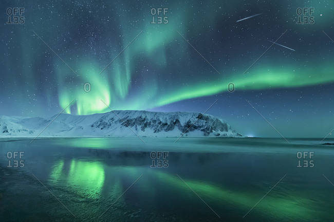 Northern lights above the beach- Berlevag- Norway