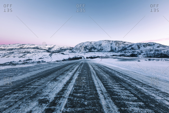 Icy lane in winter- Lebesby- Norway