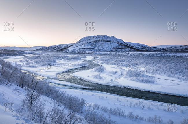 Landscape with river Storelvvassdraget in winter- Lebesby- Norway