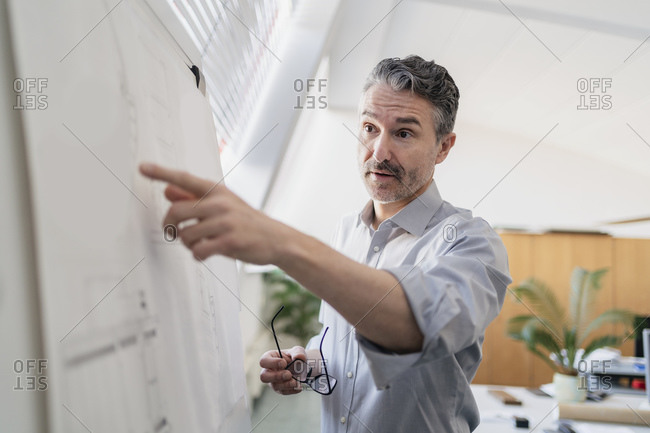 Confident mature male entrepreneur pointing at whiteboard while planning strategy in office during meeting