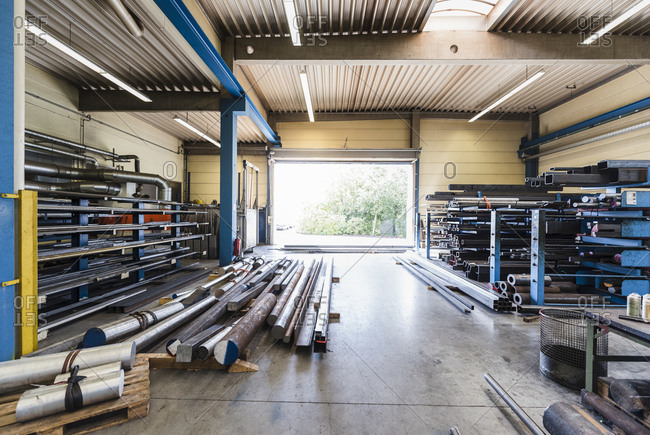 Empty industrial hall in a metalworking factory