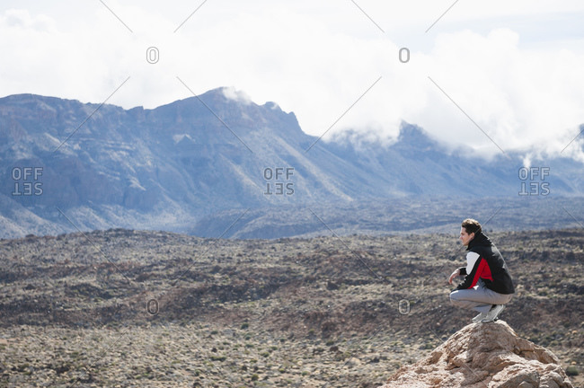 Hiker on viewpoint in Teide National Park- Tenerife- Balearic Islands- Spain