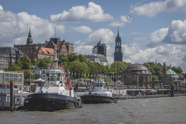 May 17,  2020: Germany- Hamburg- Saint Pauli Piers with Saint Michaels Church in background