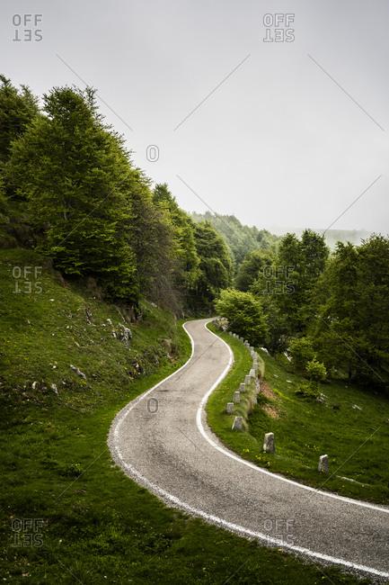 Italy-Province of Verona-Verona- Winding country road inItalian Alps