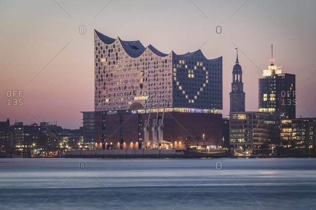 March 27,  2020: Germany- Hamburg- Heart shape displayed on Elbphilharmonie at dusk