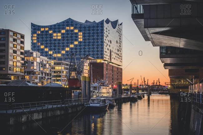 March 30,  2020: Germany- Hamburg- Heart shape displayed on Elbphilharmonie at dusk