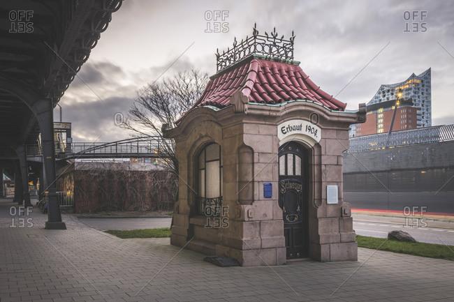 April 3,  2020: Germany- Hamburg- Historical Sielhauschen pavilion