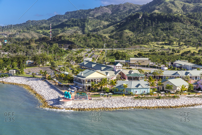 December 30,  2018: Dominican Republic- Maimon- View to harbor- Amber Cove Cruise Terminal