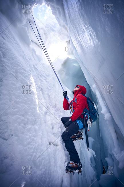 Mountaineer climbing in crevasse- Glacier Grossvendediger- Tyrol- Austria