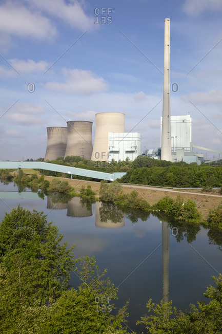 Germany- North Rhine-Westphalia- Werne- Bank of Lippe river and Gersteinwerk power station