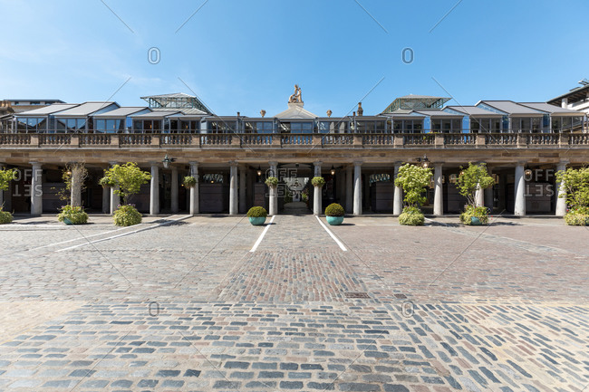 May 19,  2020: UK- London- Empty Covent Garden market and square on a sunny day