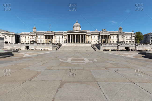 May 19,  2020: UK- London- Trafalgar Square and the National Gallery building on a sunny day