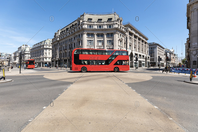 UK- London- Red double decker on Oxford Circus