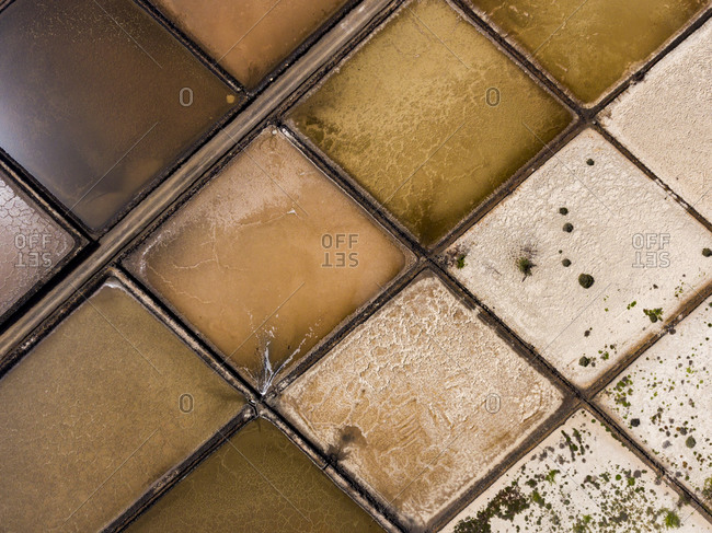 Aerial view of square shaped salt mines