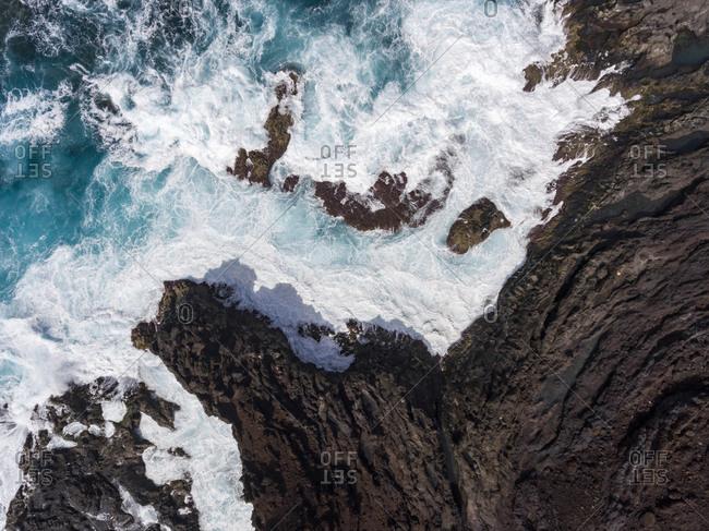 Aerial view of rocky coast along the Atlantic Ocean