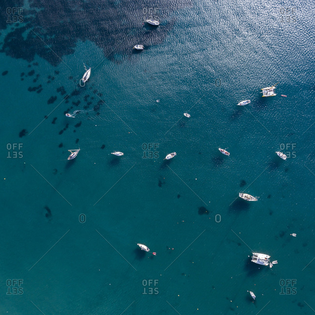Aerial view of yachts drifting in the sea