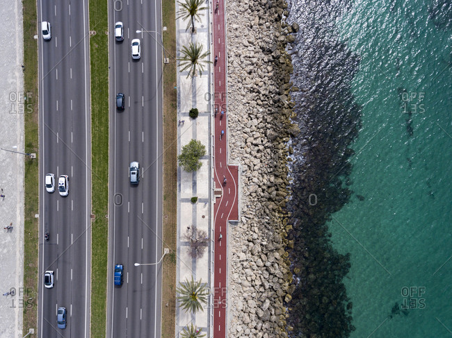 Bird's eye view of a six lane highway by the sea