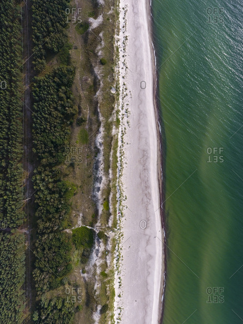 Aerial view of the coastline along the Baltic Sea