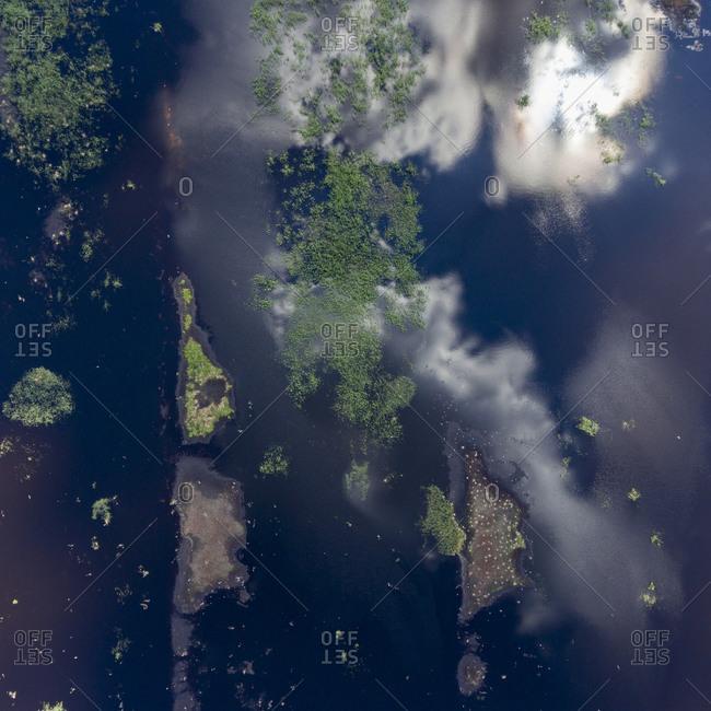 Aerial view of a peat bog