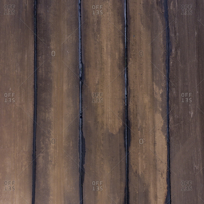 Bird's eye view of a peat farm