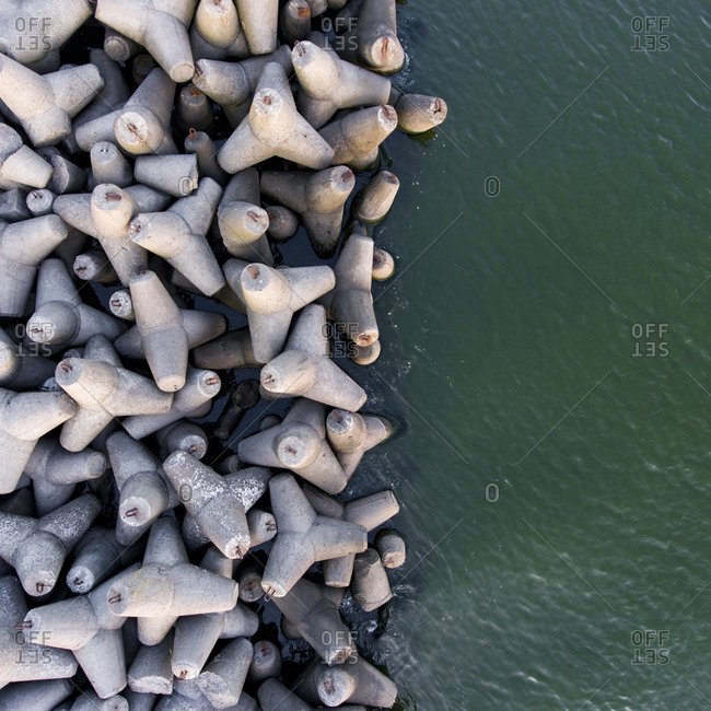 Breakwater and the sea viewed from above in Lithuania