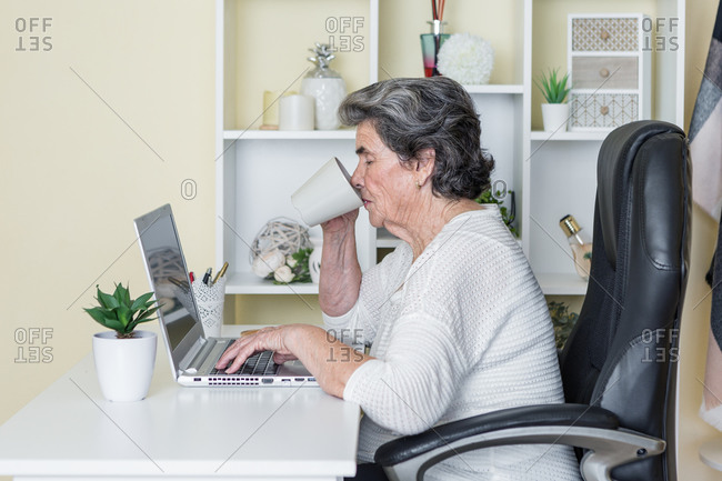 Side view of positive elderly female sipping fresh hot brew while sitting in comfortable armchair at table and working remotely on laptop at home