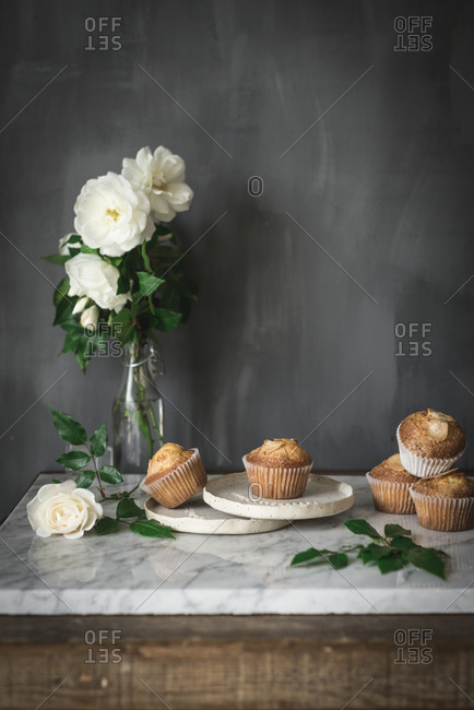 Still life of tasty yogurt cupcakes on round plates in arrangement with green leaves and aromatic white roses in glass vase on marble table against gray wall in kitchen