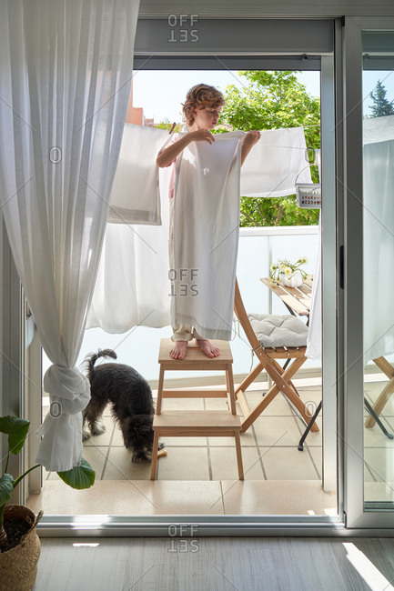 Little boy standing on wooden stepladder on sunny balcony while hanging laundry on rope with black dog at home