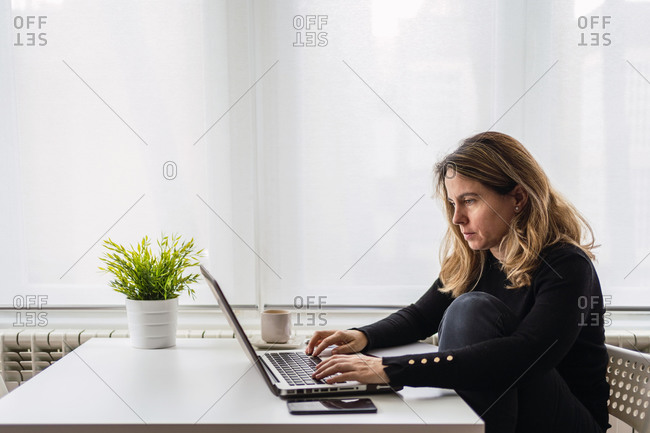 Side view of focused female specialist in casual wear working with electronic documents on laptop while sitting at table near window in modern room at home
