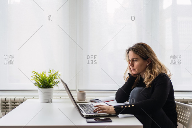 High angle side view of focused female specialist in casual wear working with electronic documents on laptop while sitting at table near window in modern room at home