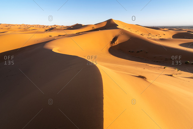 Minimalistic desert landscape with sandy dunes and clear blue sky in Morocco