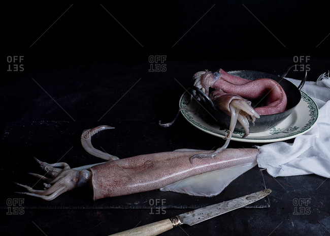 Uncooked meat of squids placed in metal bowl on table in kitchen on black background