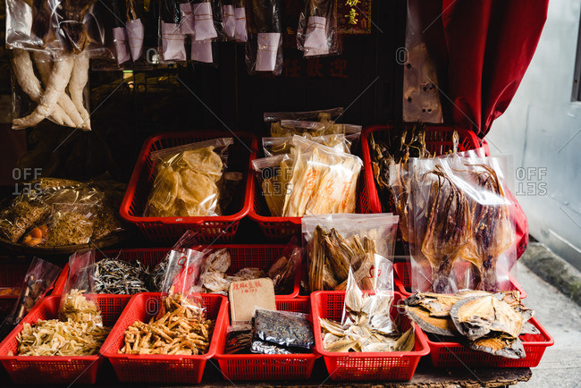 - June 2, 2020: Chinese delicatessen in assortment for sale on local stall market in street of Hong Kong