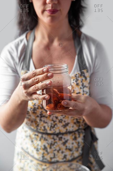 Woman using a kitchen robot