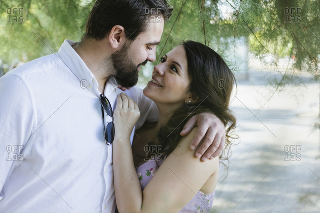 Pregnant couple happily in love