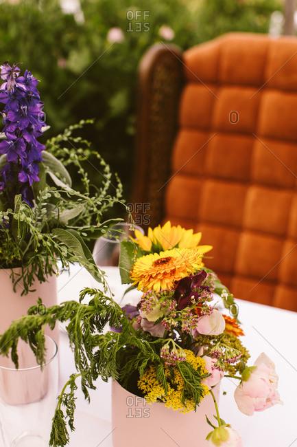Floral centerpieces  at an outdoor wedding