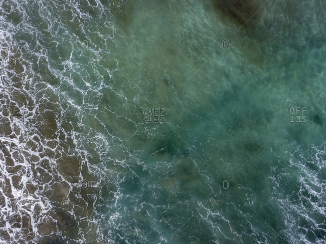 Turquoise water in the Atlantic Ocean from the bird's eye view